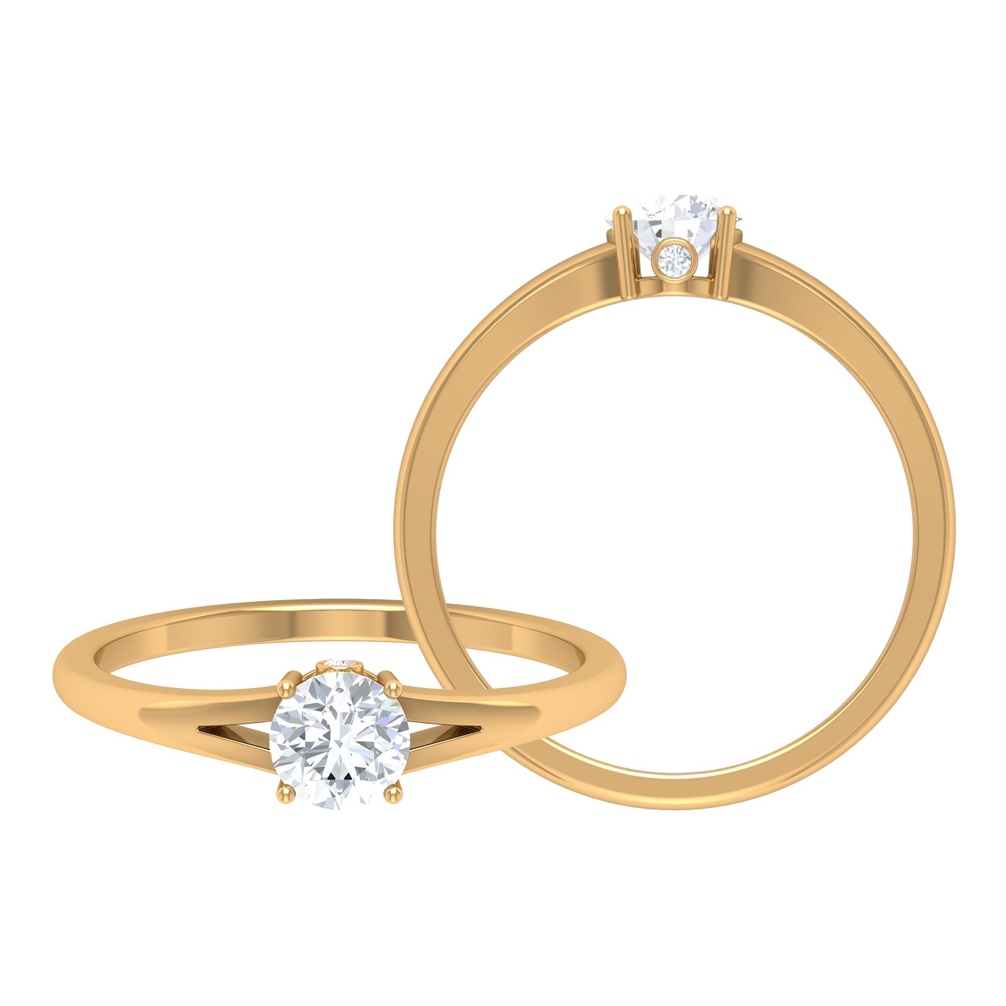 1/2 CT Round Cut Diamond Solitaire Ring in Prong Setting and Surprise Style with Split Shank