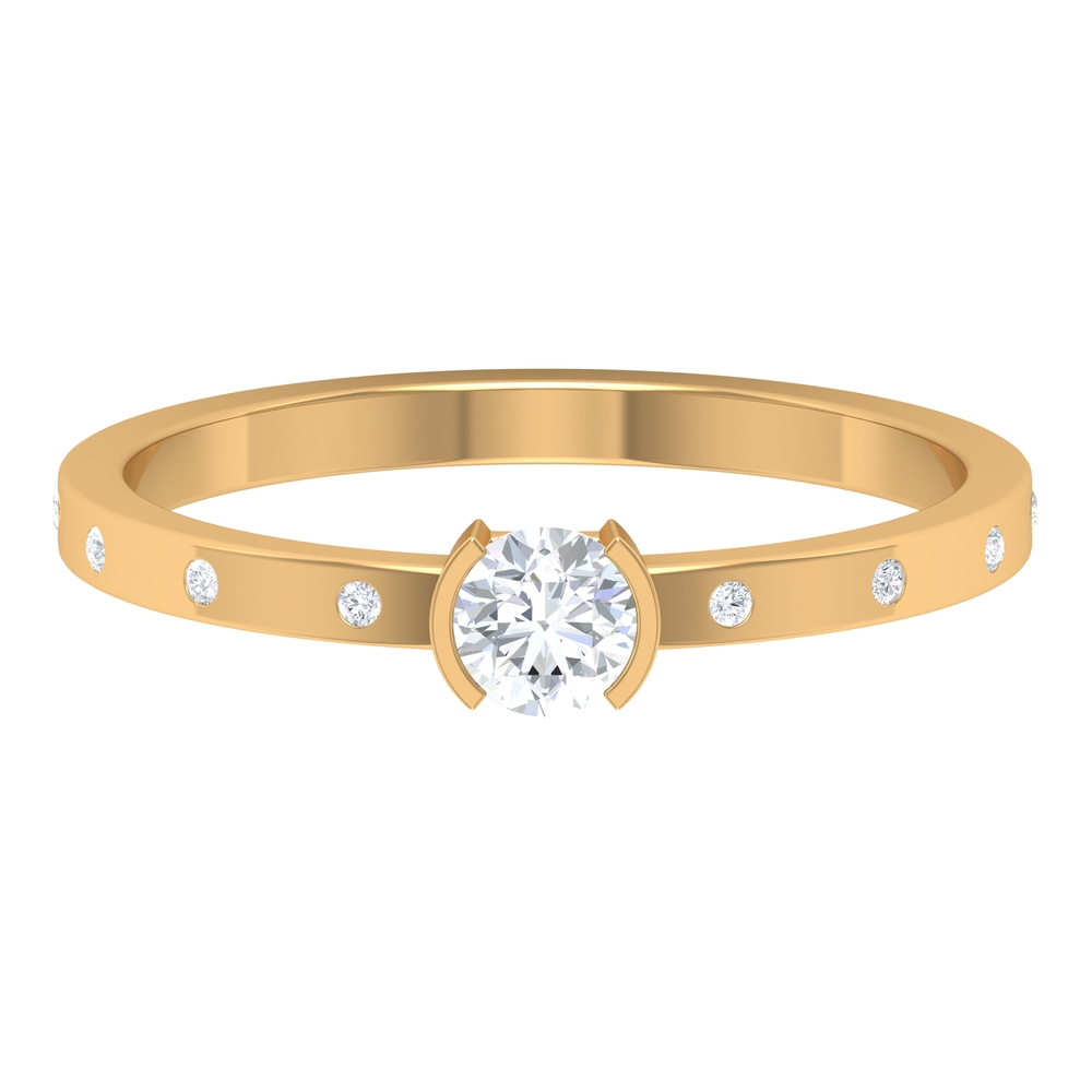 4 MM Round Cut Diamond Solitaire Ring in Half Bezel Set and Sleek Accent