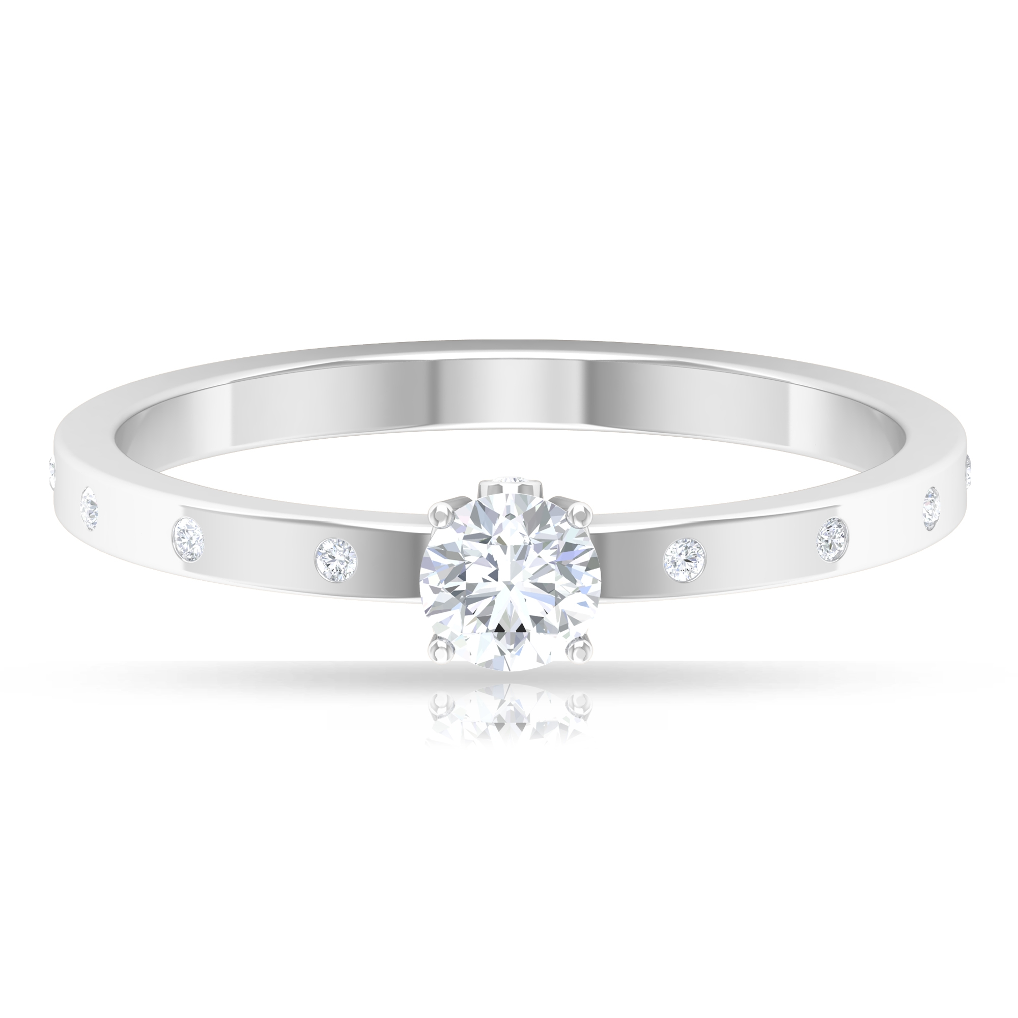 4 MM Round Cut Solitaire Diamond Ring with Sleek Accent and Surprise Shank Style