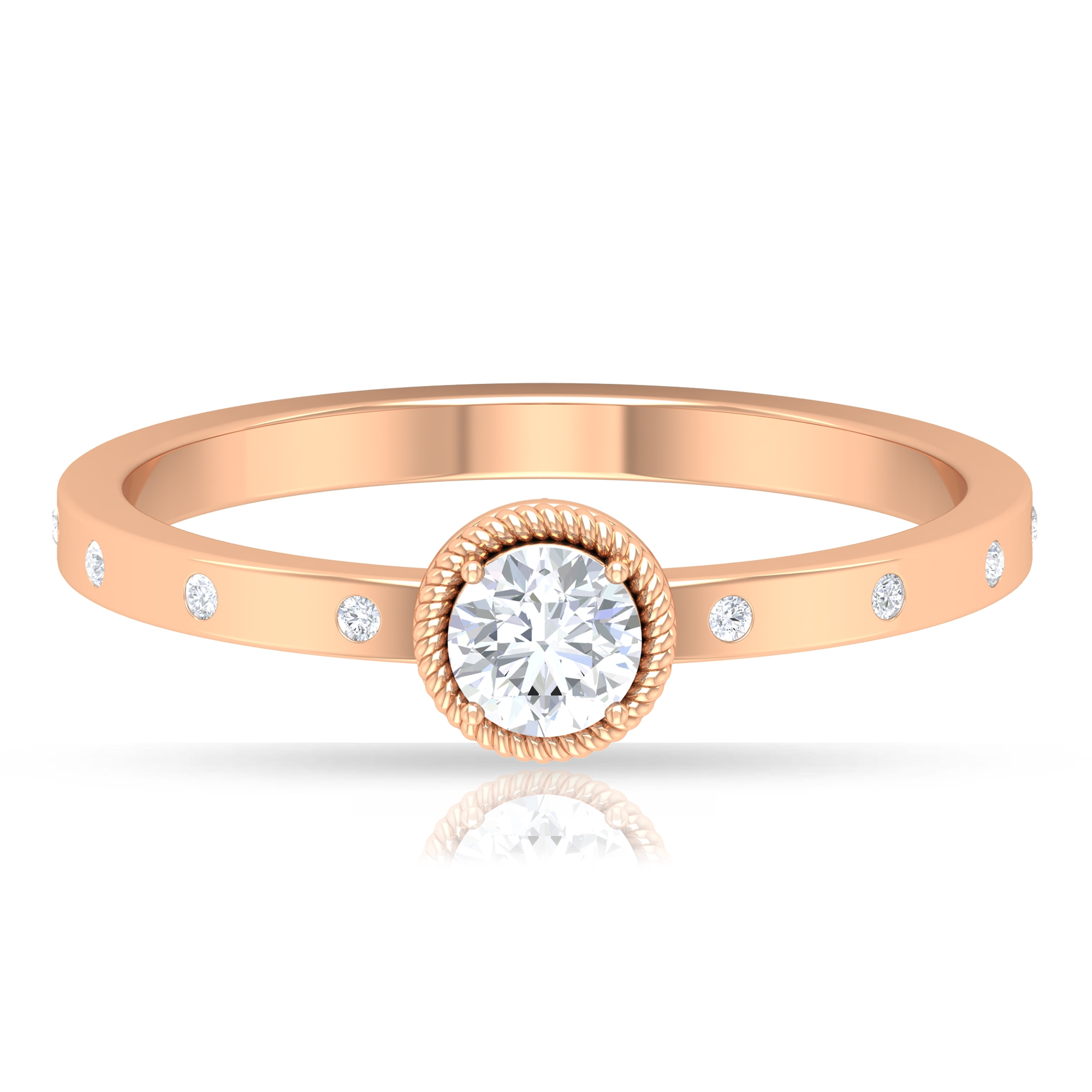 4 MM Round Cut Solitaire Diamond Ring in Rope Frame with Sleek Accent