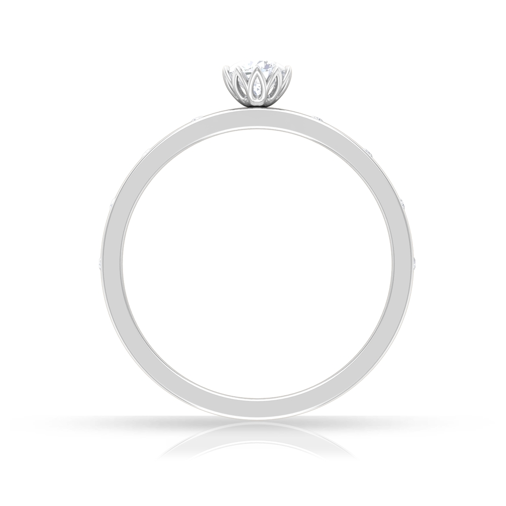 Lotus Basket Set 4 MM Round Cut Solitaire Diamond Ring with Sleek Accent