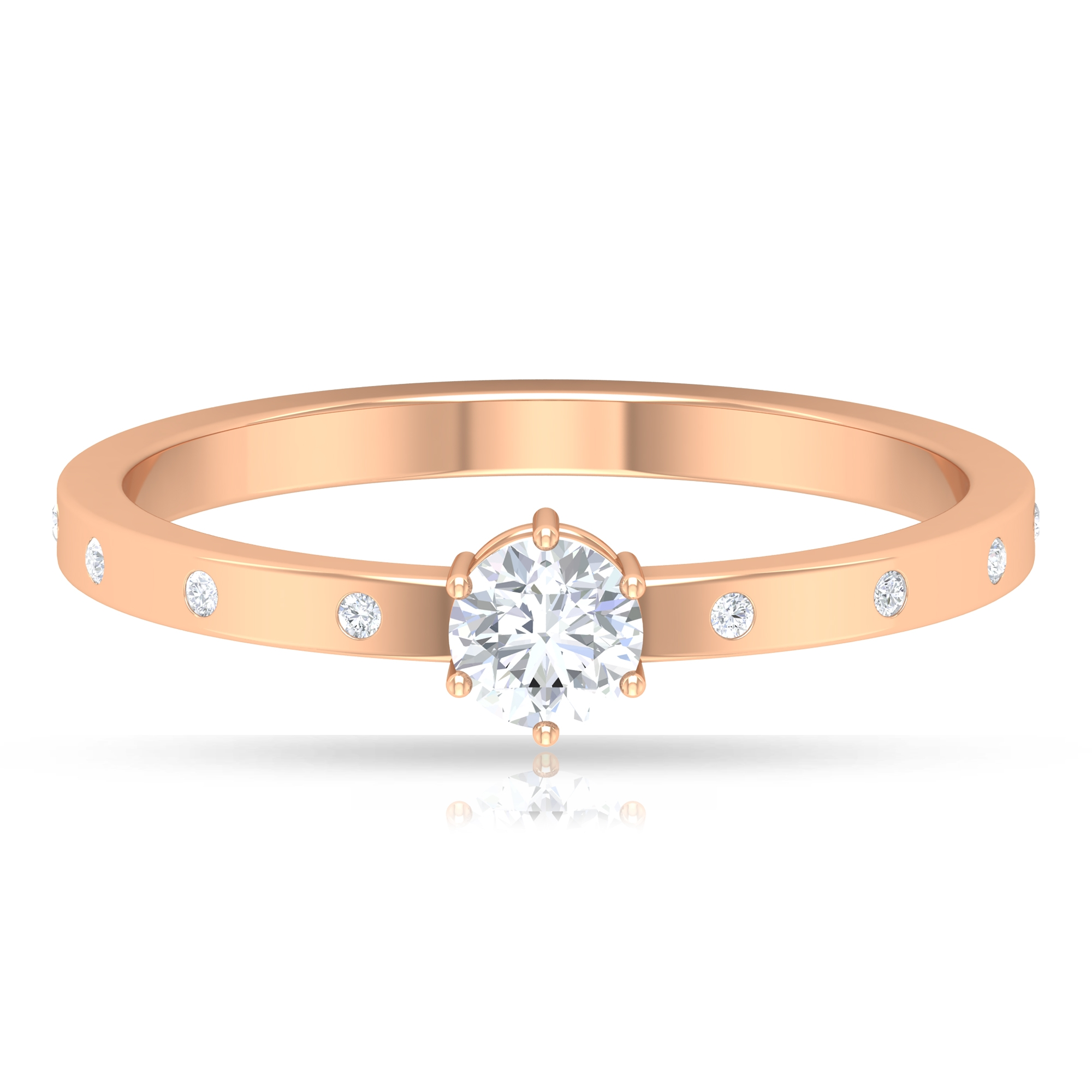 1/4 CT Round Cut Diamond Solitaire Ring in 6 Prong Setting with Sleek Accent