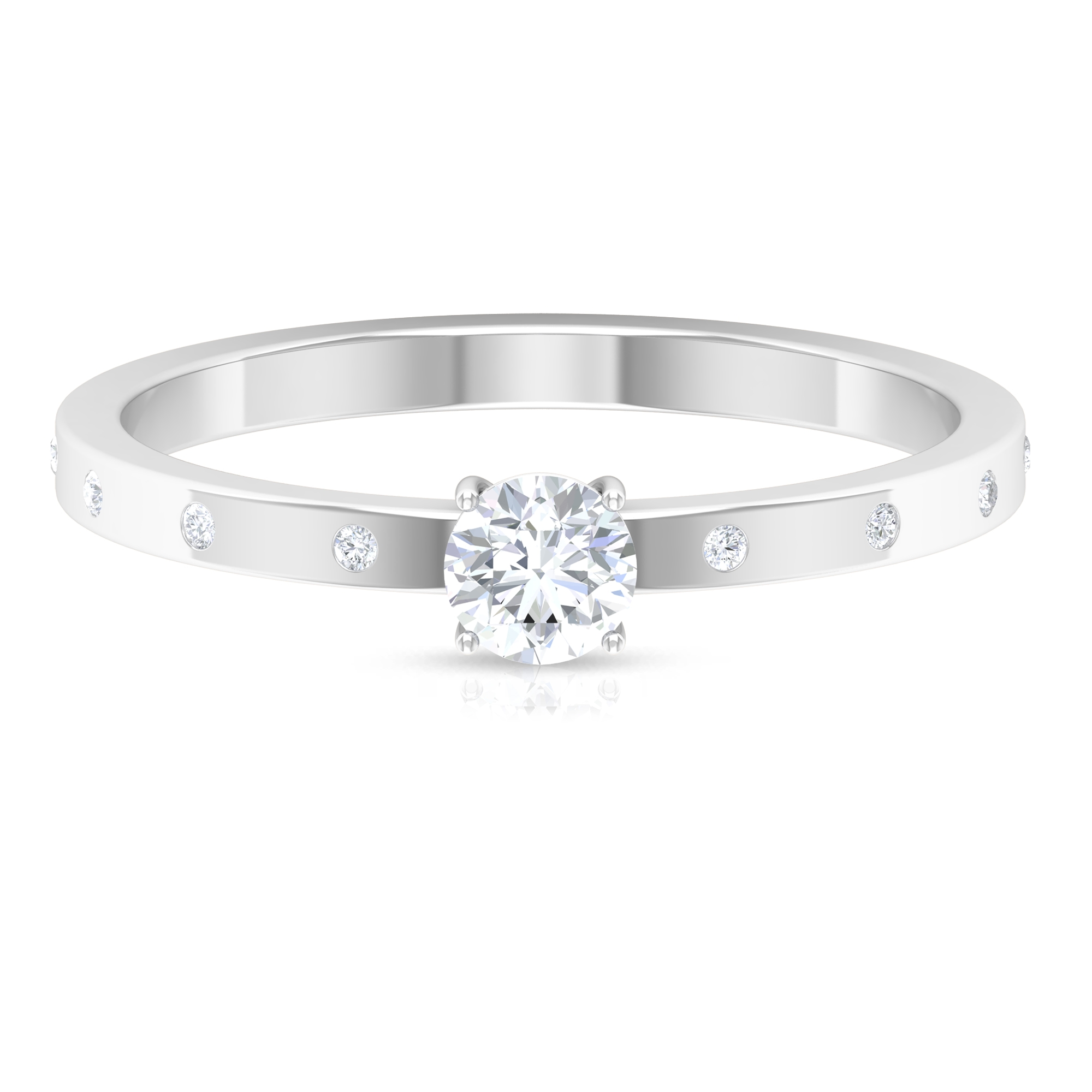 1/4 CT Round Cut Diamond Solitaire Ring in 4 Prong Setting with Sleek Accent