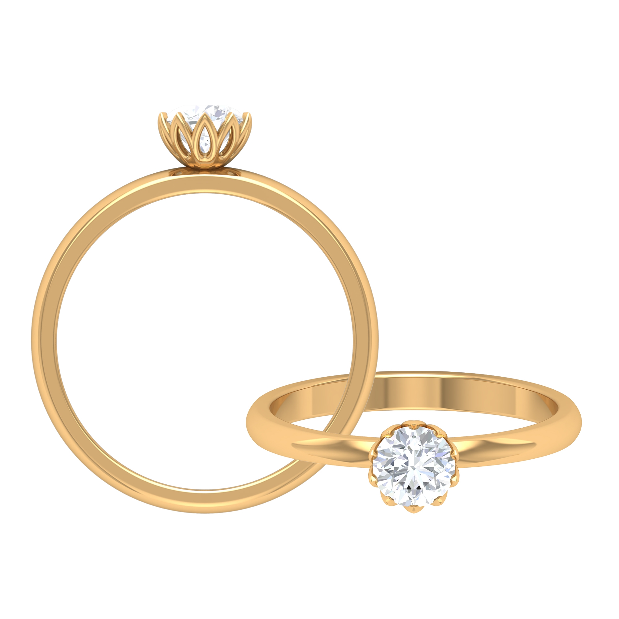 5 MM Round Cut Diamond Solitaire Ring in Lotus Basket Setting