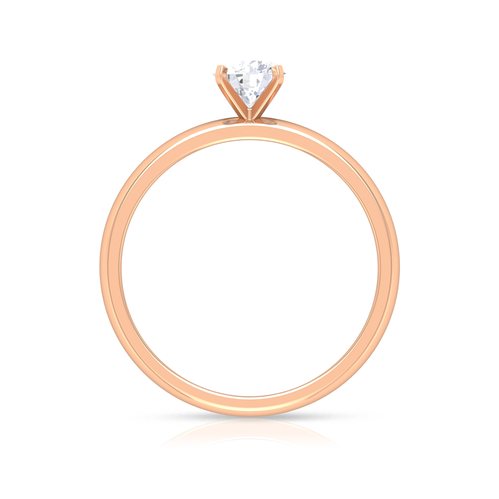 5 MM Round Cut Diamond Solitaire Ring in Peg Head Setting
