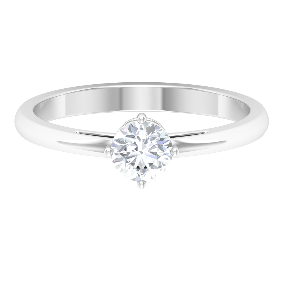 5 MM Round Diamond Solitaire Ring in 4 Prong Diagonal Setting