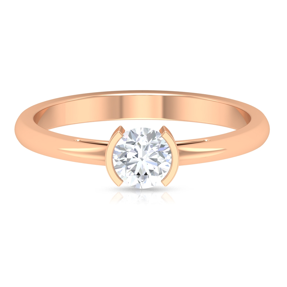 5 MM Round Cut Diamond Solitaire Ring in Half Bezel Setting
