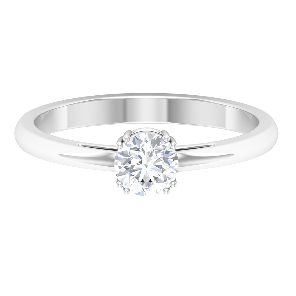 5 MM Round Diamond Solitaire Ring in Double Prong Setting