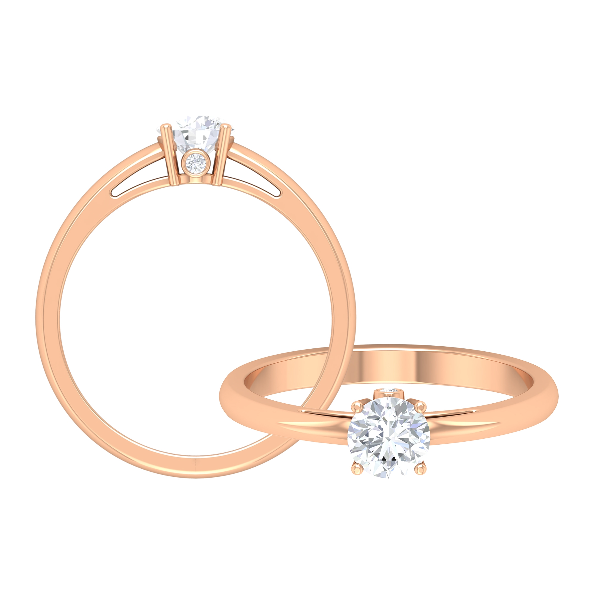 1/2 CT Round Cut Diamond Solitaire Ring in Prong Setting and Surprise Style