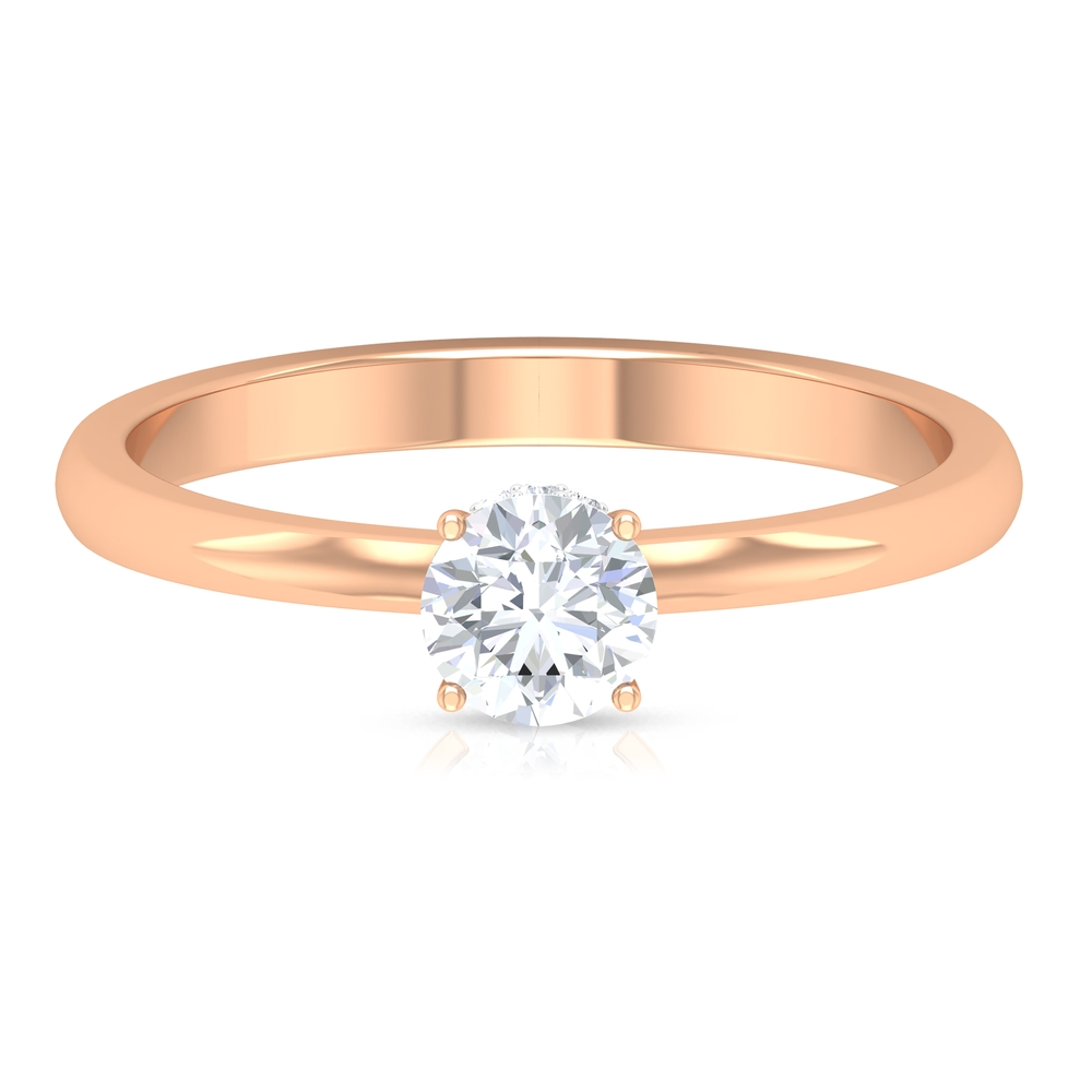 1/2 CT Round Cut Diamond Solitaire Ring in Prong Setting with Hidden Halo