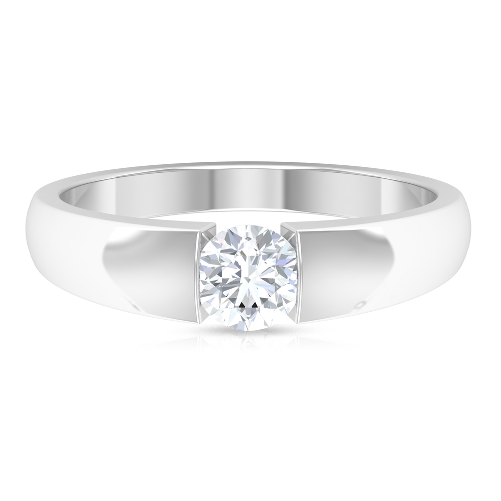 5 MM Round Cut Diamond Solitaire Band in Tension Mount Setting