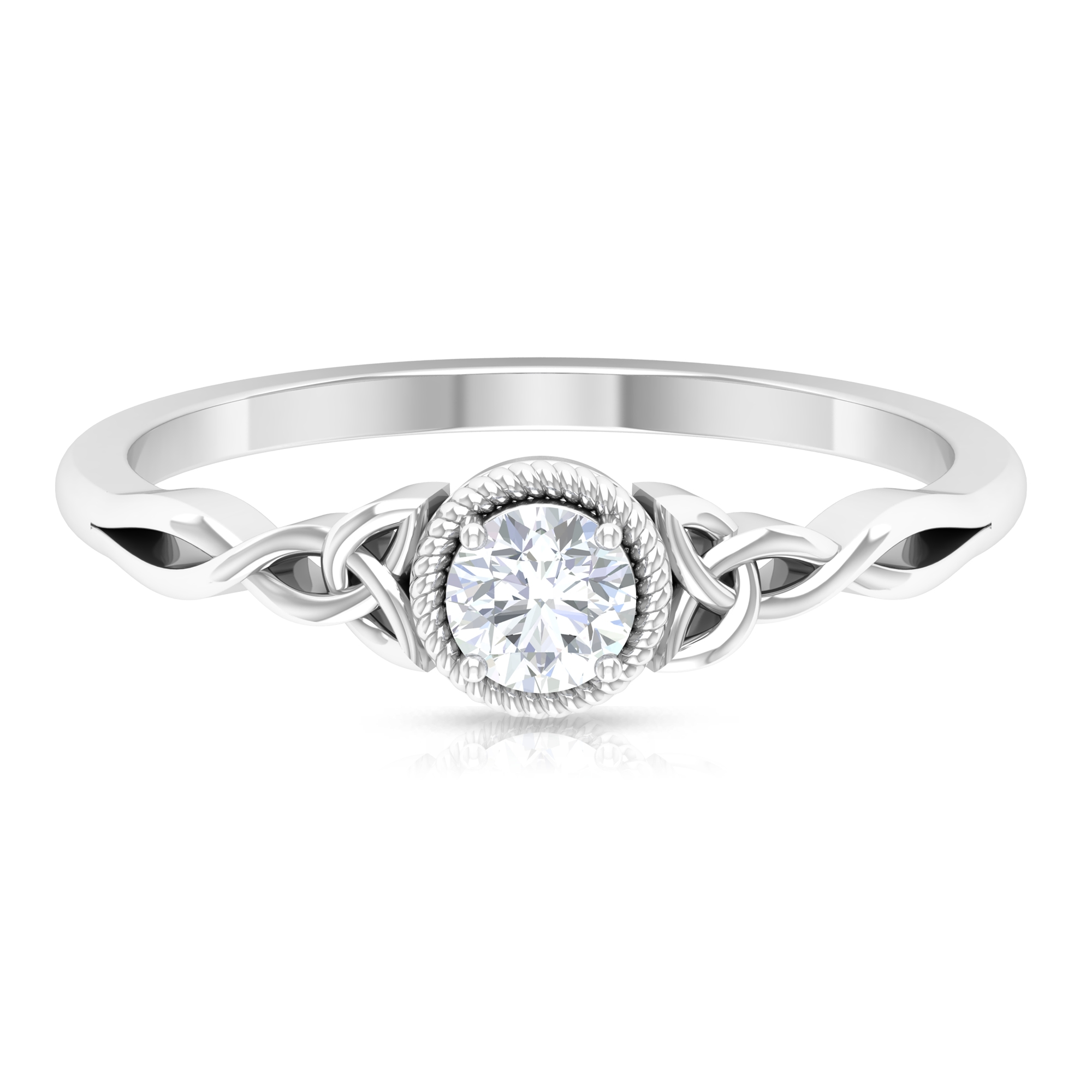 4 MM Round Cut Diamond Solitaire Ring in Prong Setting with Rope Frame Celtic Details