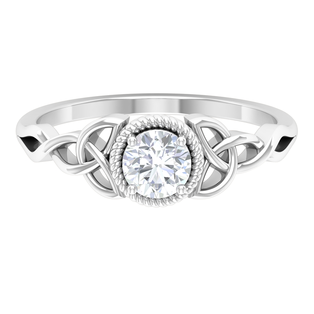 5 MM Round Cut Diamond Solitaire Ring in Prong Setting with Rope Frame and Celtic Details