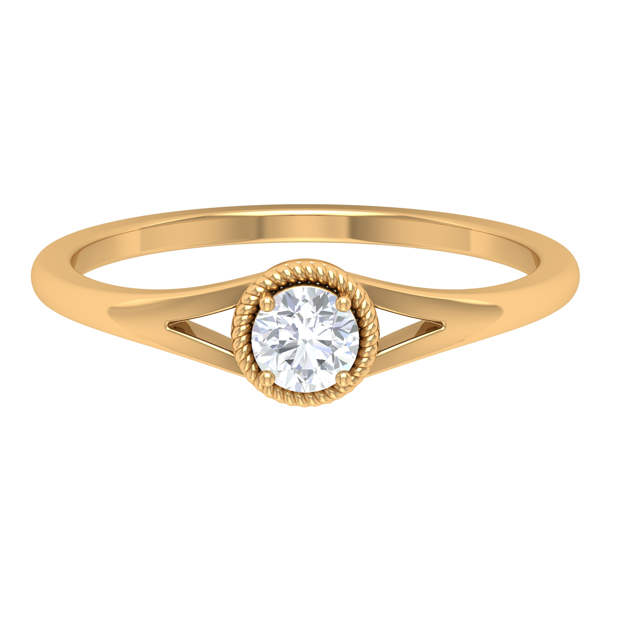4 MM Round Cut Diamond Solitaire Ring in Prong Setting with Rope Frame and Split Shank