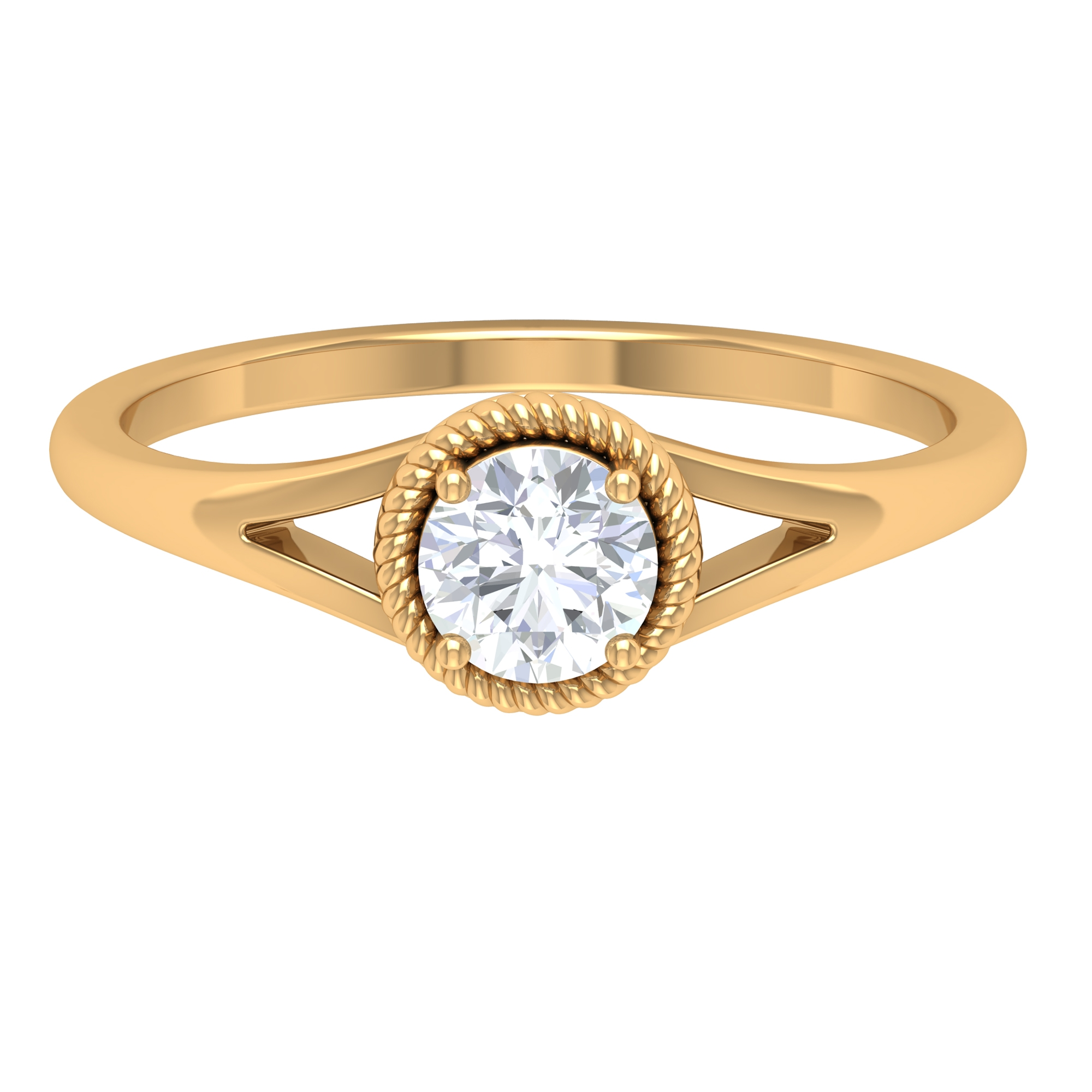 5 MM Round Cut Diamond Solitaire Ring in Prong Setting with Rope Frame and Split Shank