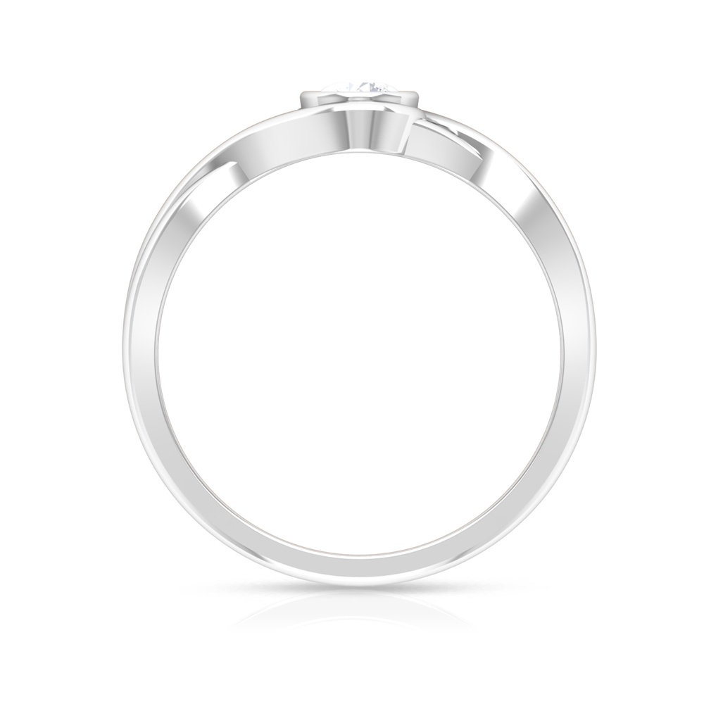 4 MM Round Cut Diamond Solitaire Ring in Bezel Setting with Crossover Shank
