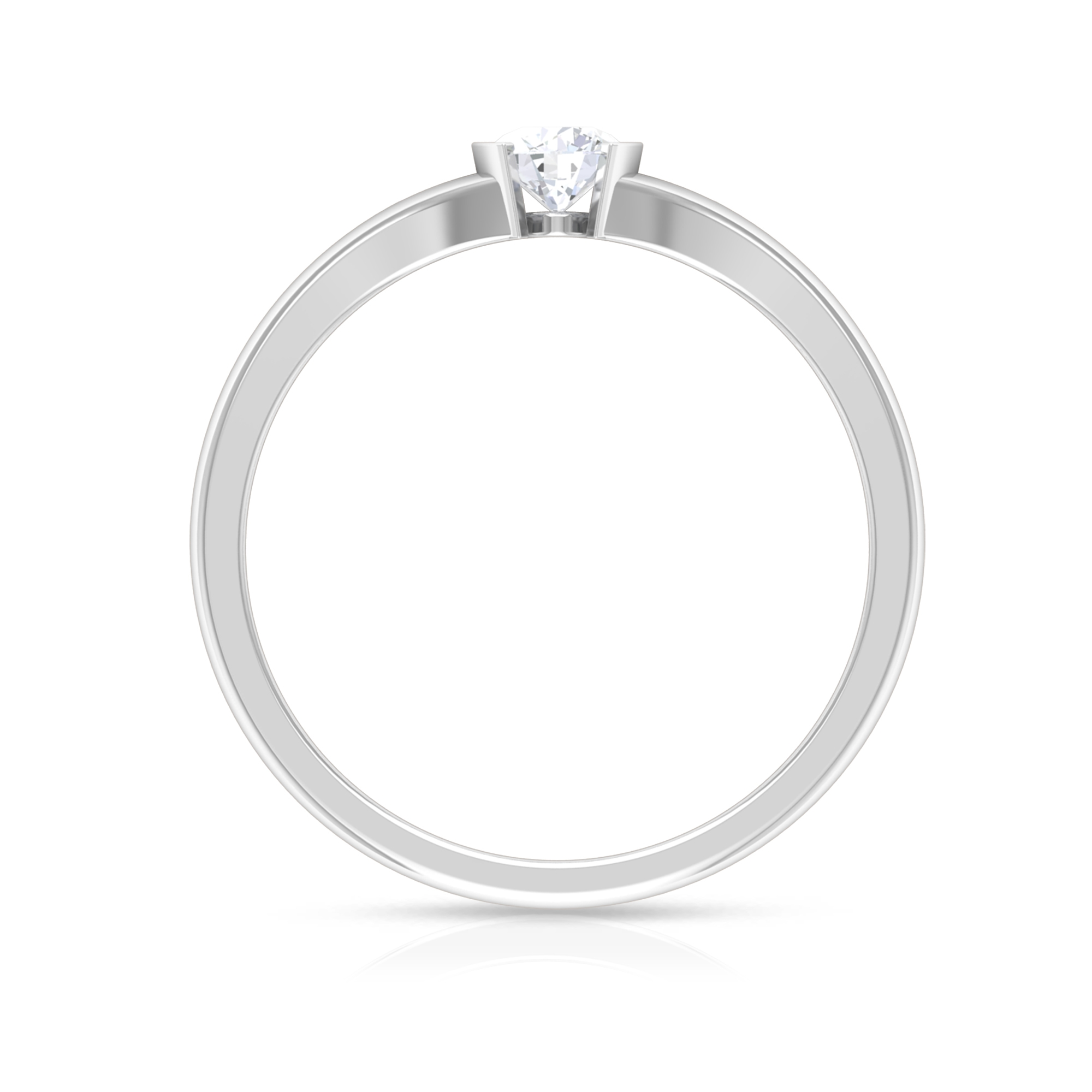 4 MM Round Cut Diamond Solitaire Ring in Half Bezel Setting with Split Shank