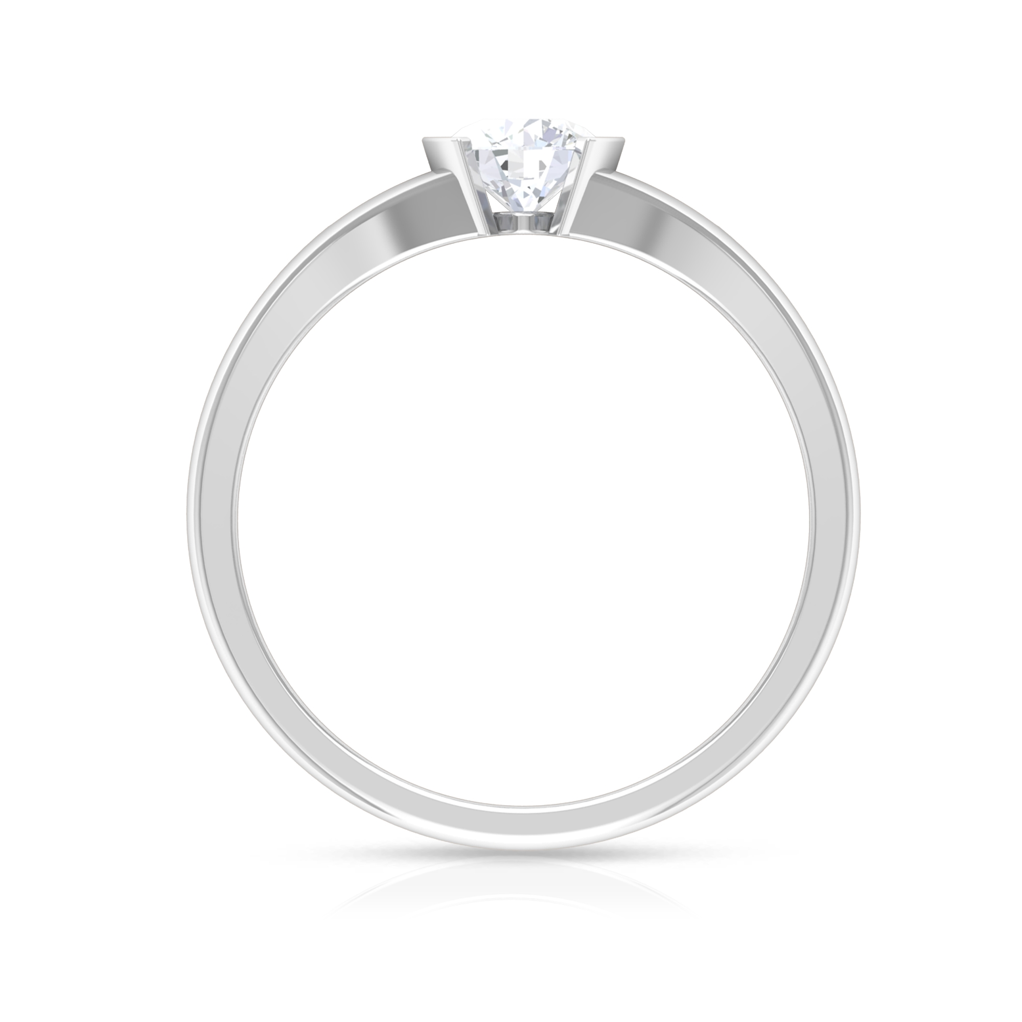 5 MM Round Cut Diamond Solitaire Ring in Half Bezel Setting with Split Shank
