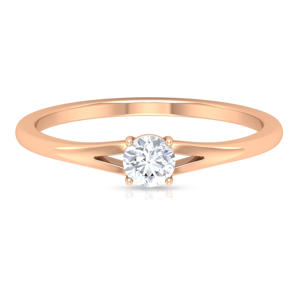 4 MM Round Cut Diamond Solitaire Ring in 4 Prong Setting with Split Shank