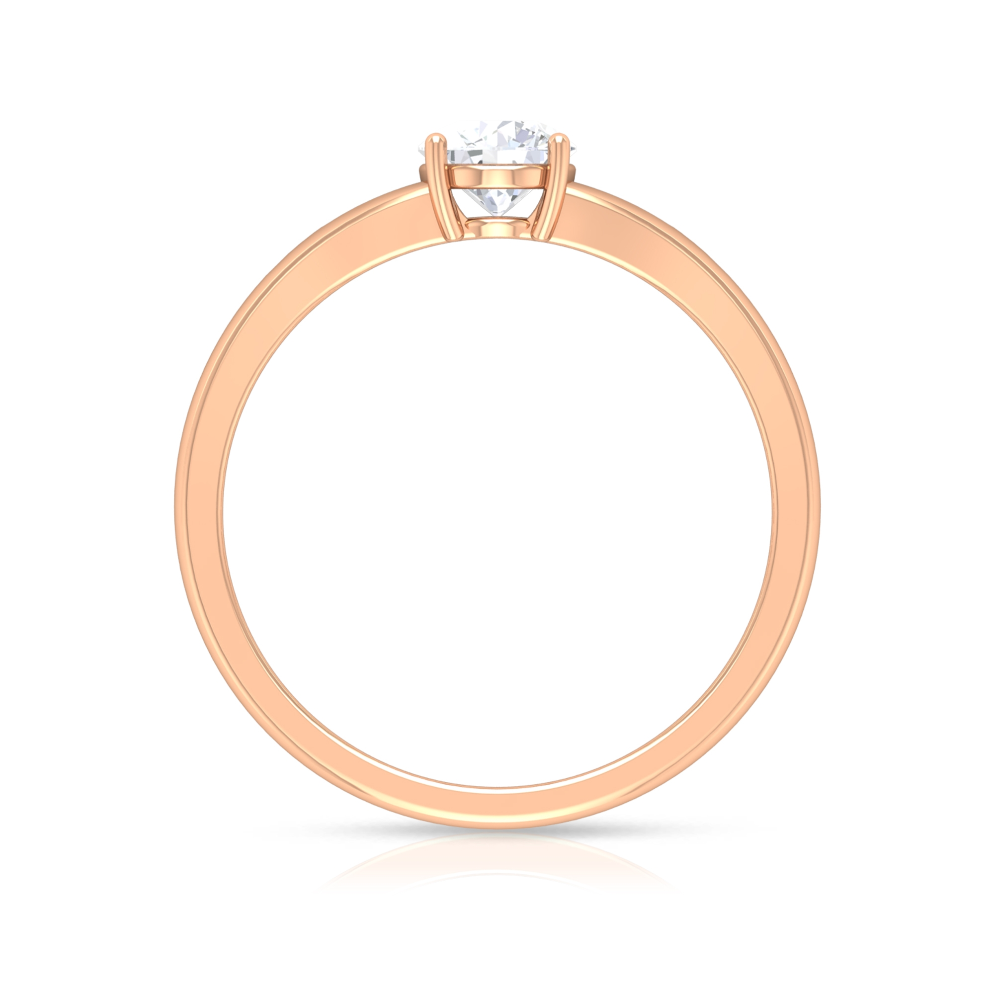 5 MM Round Cut Diamond Solitaire Ring in 4 Prong Setting with Split Shank