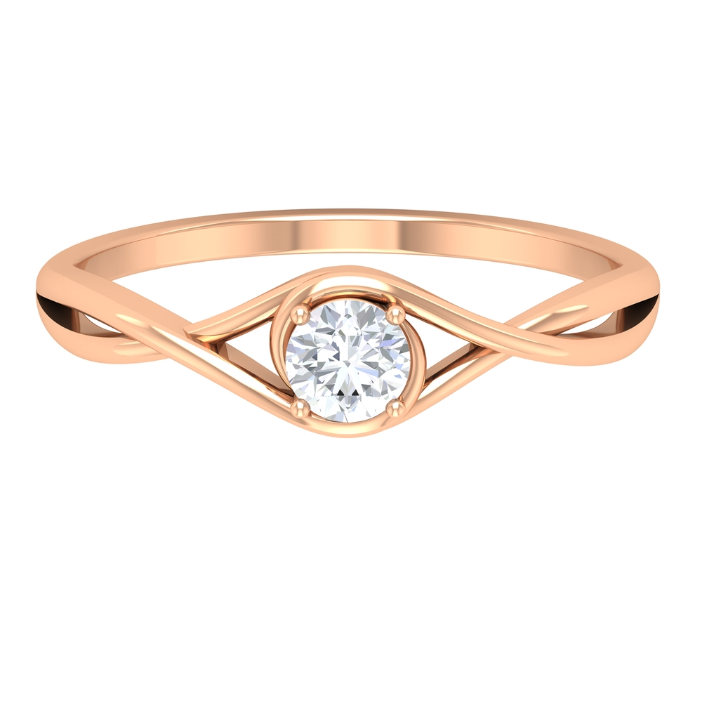 4 MM Round Cut Diamond Solitaire Ring in 4 Prong Setting with Crossover Shank