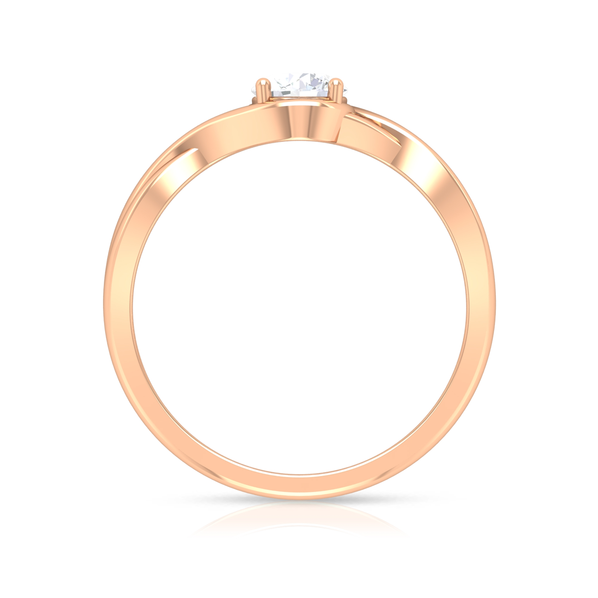 5 MM Round Cut Diamond Solitaire Ring in 4 Prong Setting with Crossover Shank
