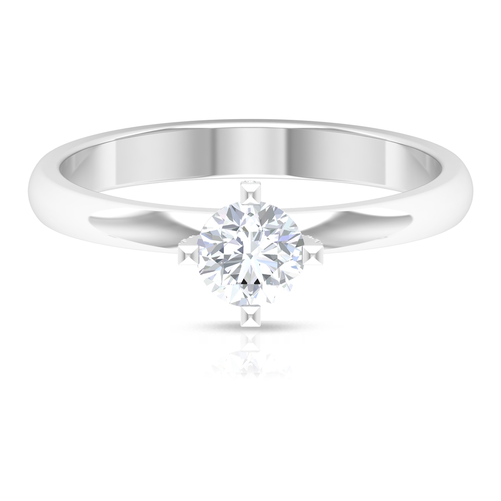 1/2 CT Round Cut Diamond Solitaire Ring in Decorative 4 Prong Diagonal Setting
