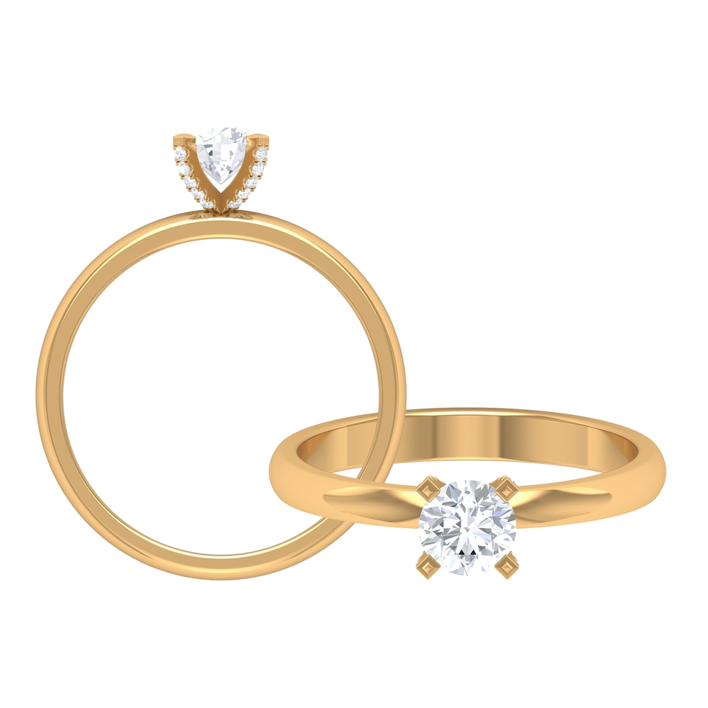1/2 CT Round Cut Diamond Solitaire Ring in Decorative 4 Prong Setting