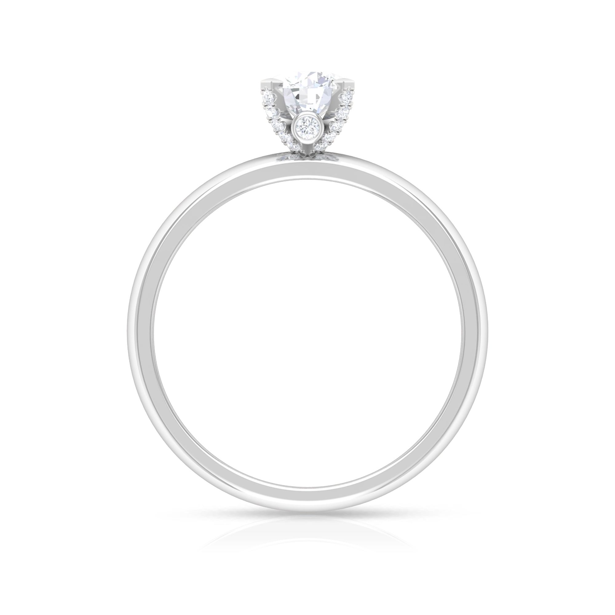 1/2 CT Round Cut Diamond Solitaire Ring in Decorative 4 Prong Setting and Surprise Style