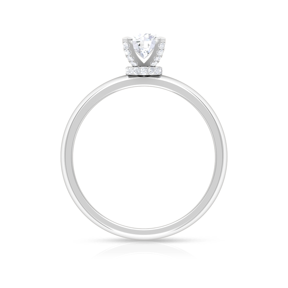 3/4 CT Round Cut Diamond Solitaire Ring in Decorative 4 Prong Setting with Hidden Halo