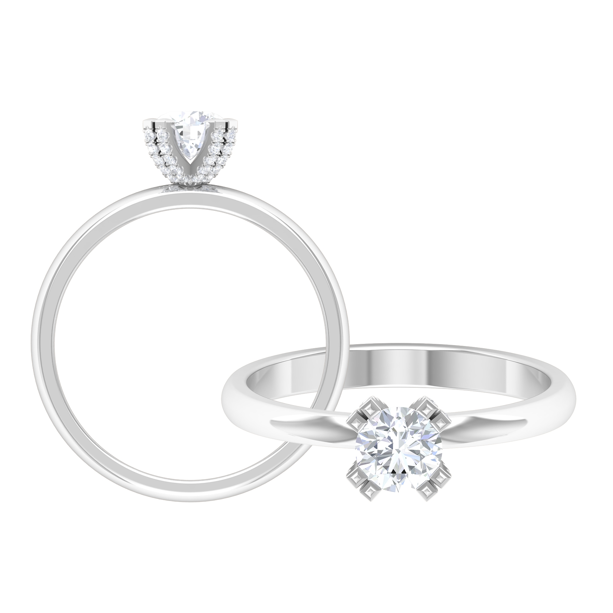 3/4 CT Diamond Solitaire Ring in Decorative Double Prong Setting