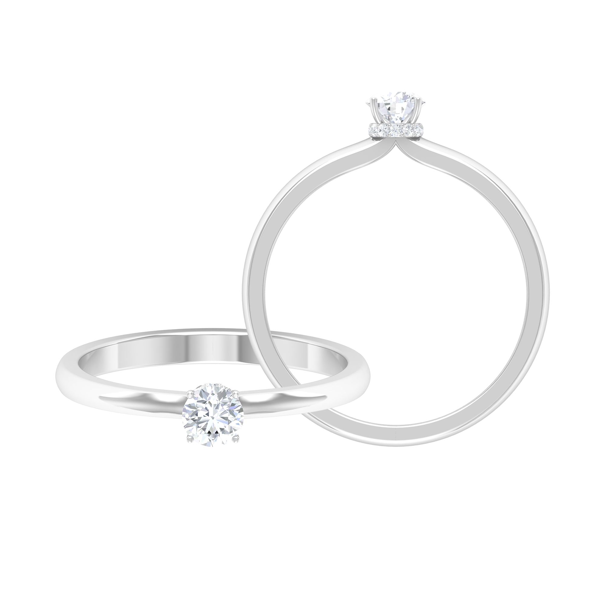 1/4 CT Round Cut Diamond Solitaire Ring in 4 Prong Setting with Hidden Halo