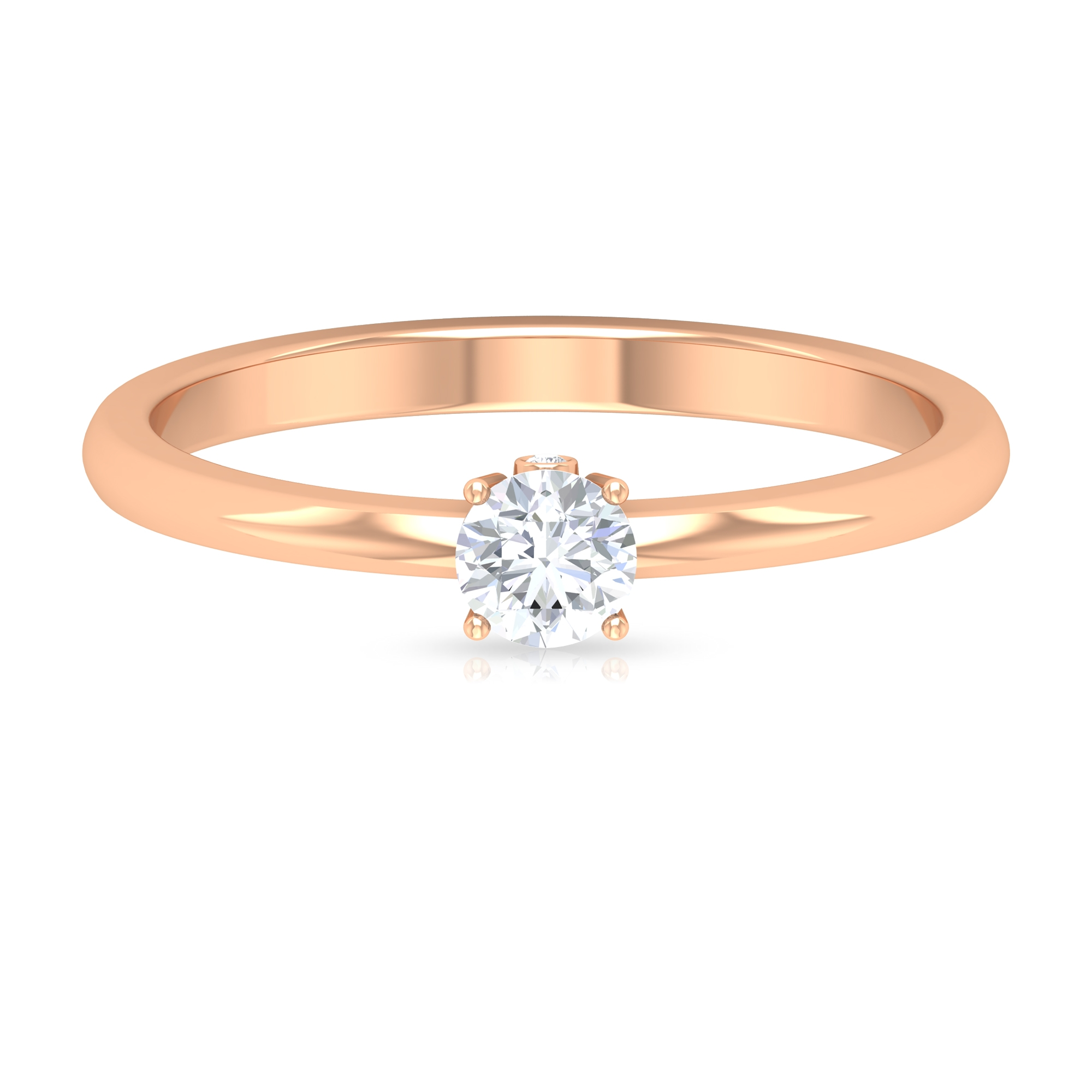 1/4 CT Round Cut Diamond Solitaire Ring in 4 Prong Setting and Surprise Style