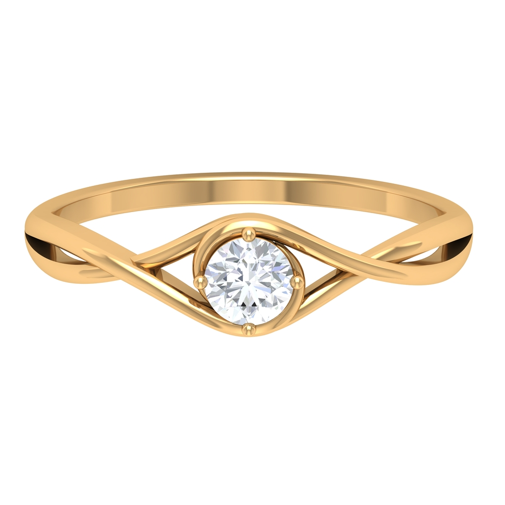 4 MM Round Cut Diamond Solitaire Ring in 4 Prong Diagonal Setting with Crossover Shank