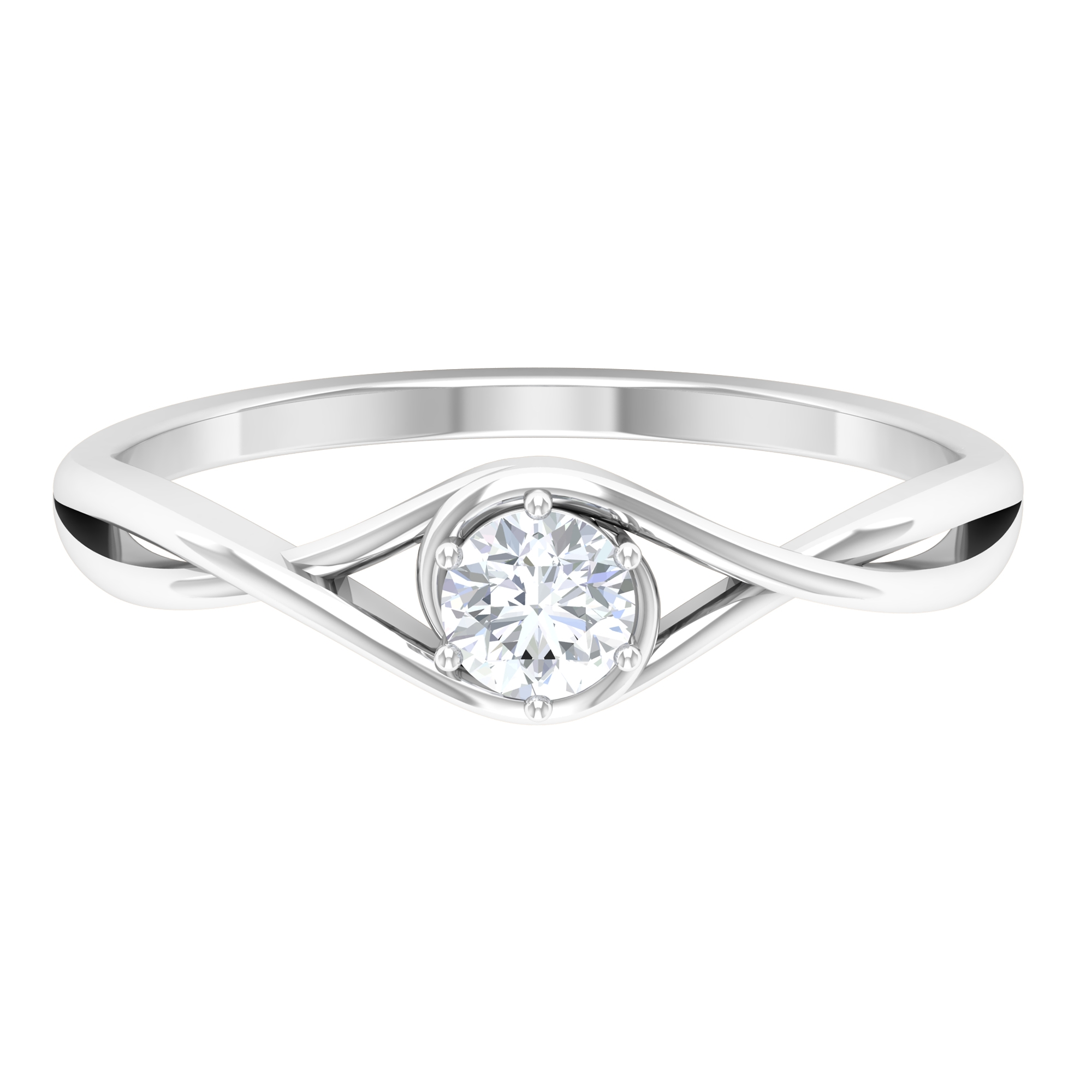 4 MM Round Cut Diamond Solitaire Ring in 6 Prong Setting with Crossover Shank