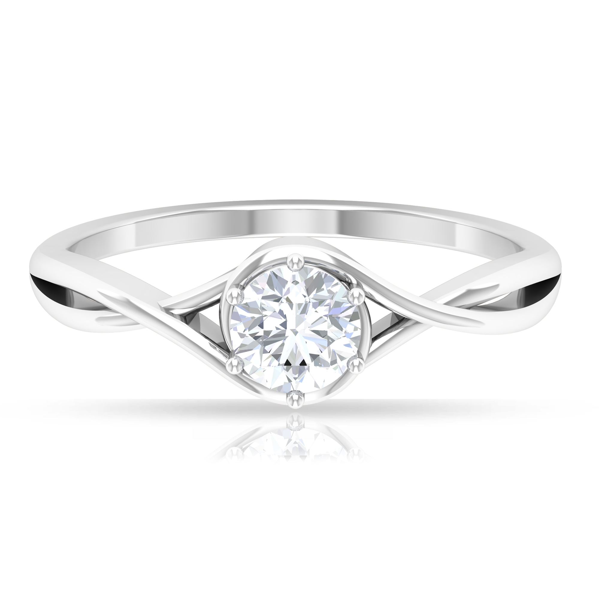 5 MM Round Cut Diamond Solitaire Ring in 6 Prong Setting with Crossover Shank