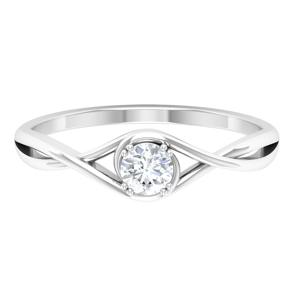 4 MM Round Cut Diamond Solitaire Ring in Double Prong Setting with Crossover Shank