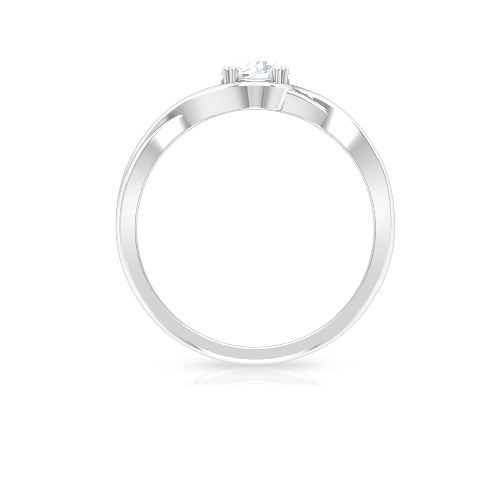 5 MM Round Cut Diamond Solitaire Ring in Double Prong Setting with Crossover Shank