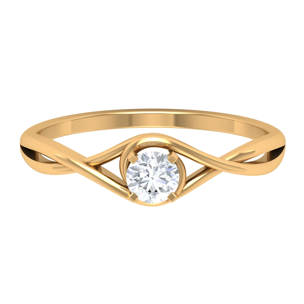 4 MM Round Cut Diamond Solitaire Ring in Square Prong Setting with Crossover Shank