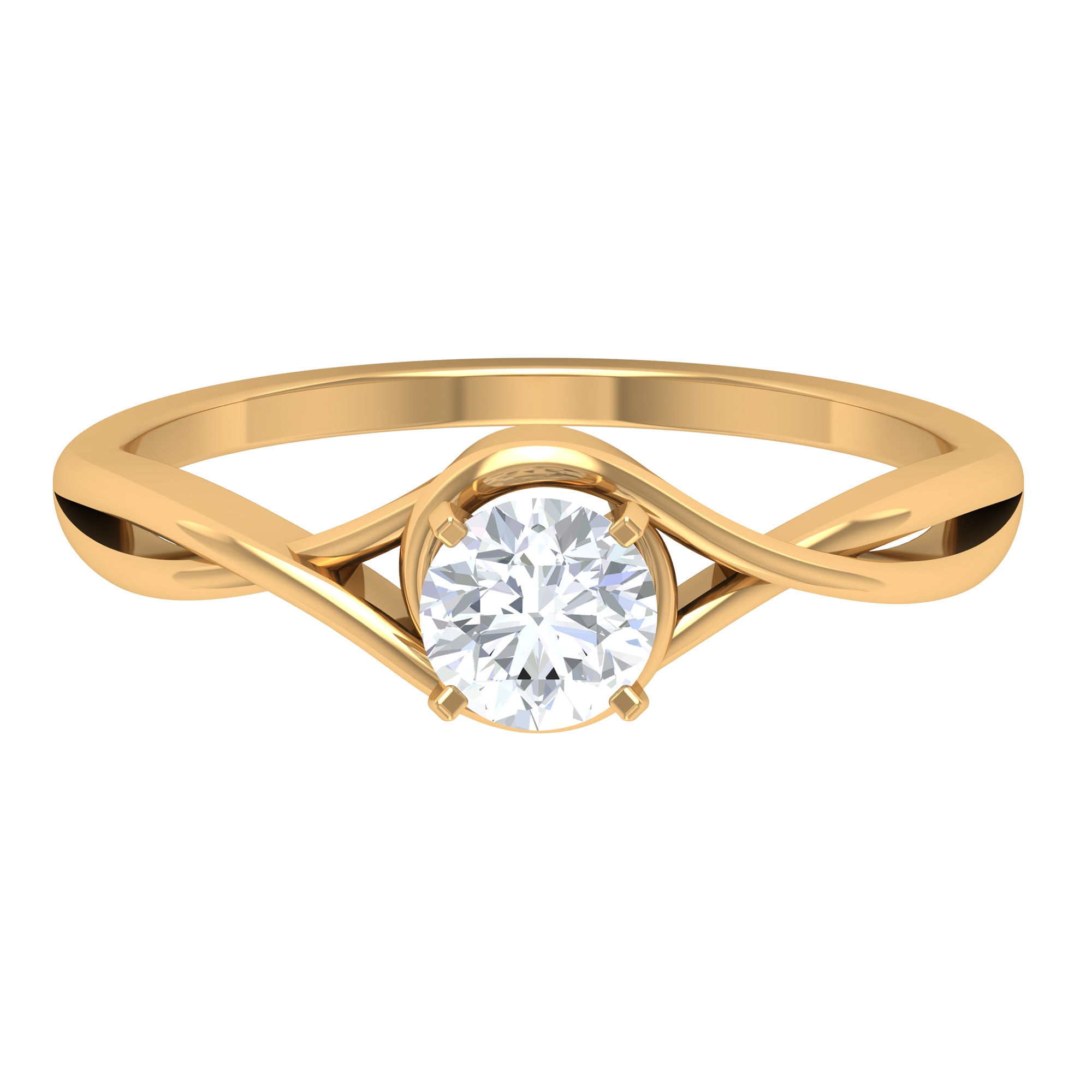 5 MM Round Cut Diamond Solitaire Ring in Square Prong Setting with Crossover Shank