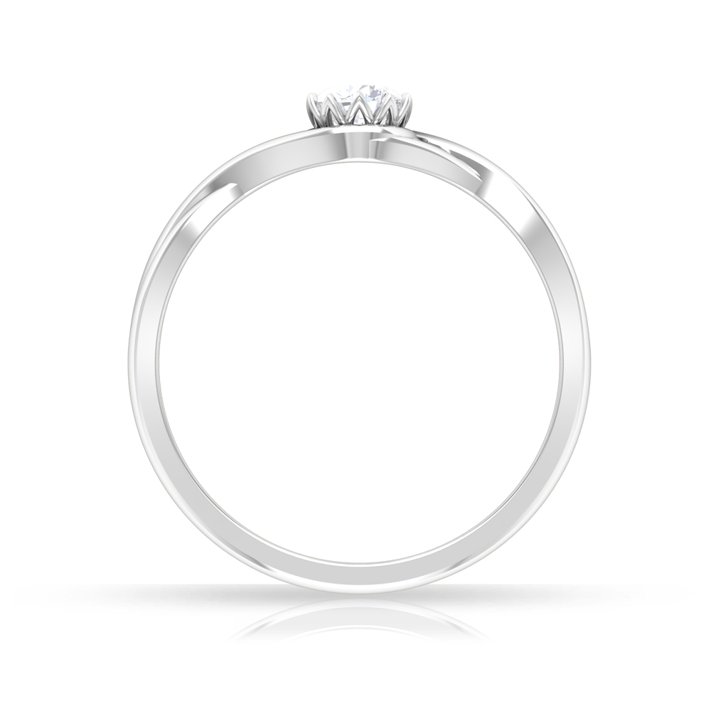 4 MM Round Cut Diamond Solitaire Ring in Lotus Basket Setting with Crossover Shank