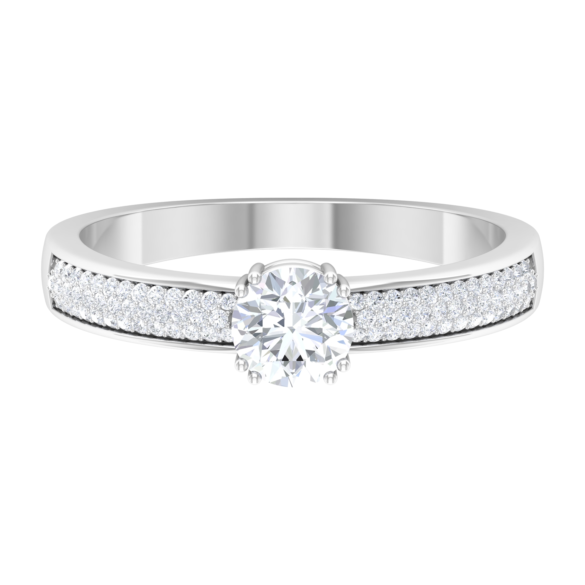 3/4 CT Double Prong Set Diamond Solitaire Ring with Pave Set Side Stones