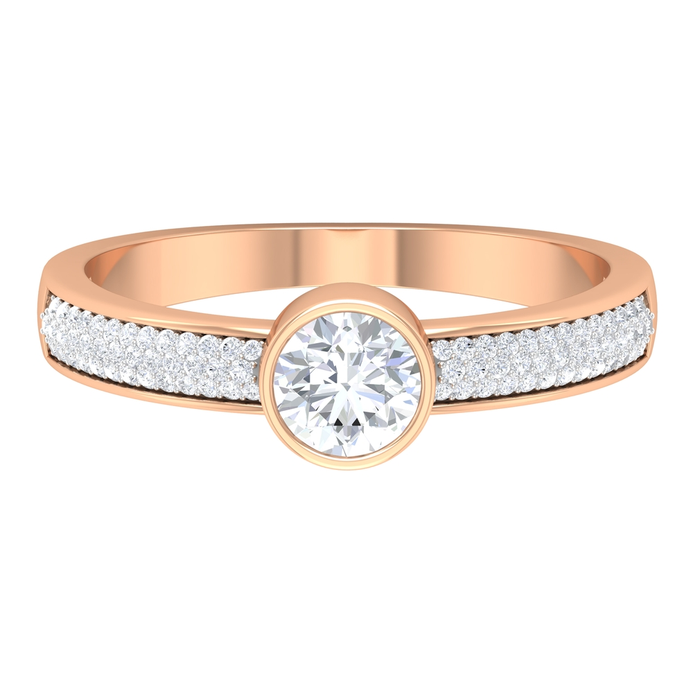 April Birthstone 3/4 CT Bezel Set Diamond Solitaire Ring with Pave Set Side Stones