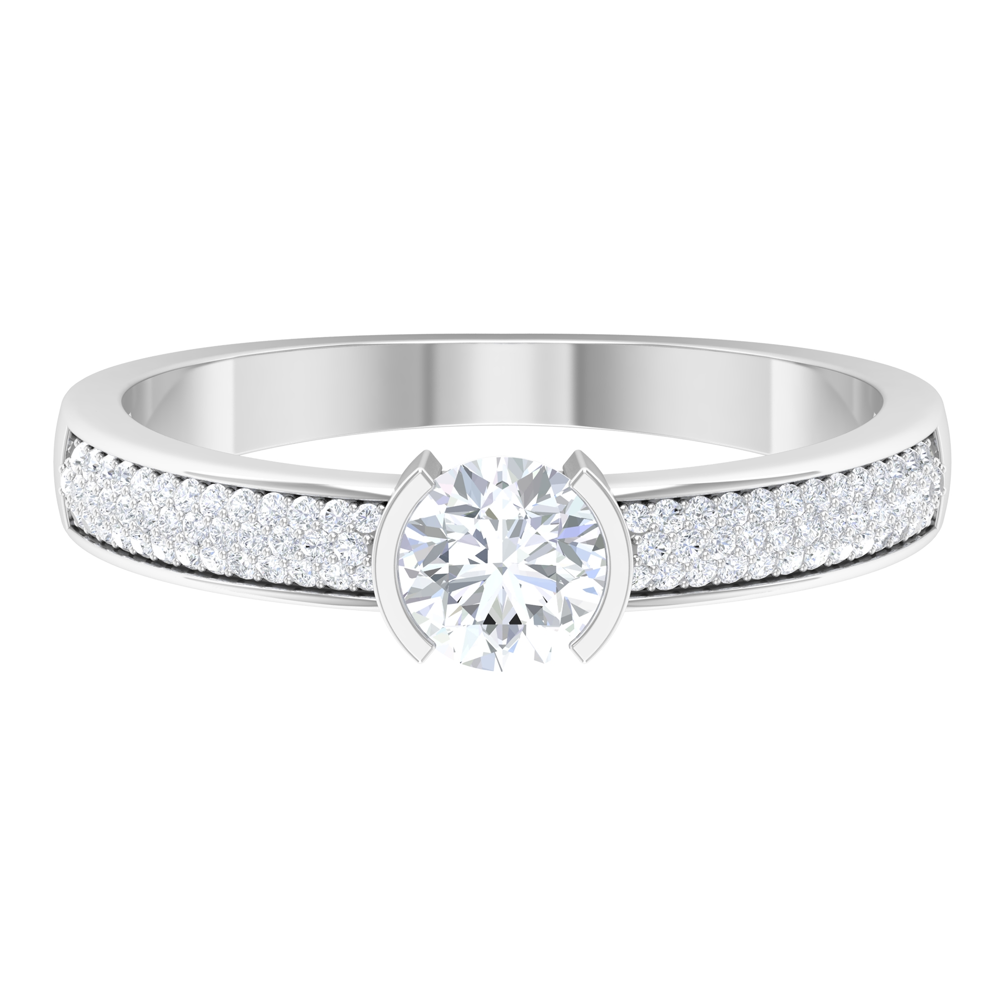3/4 CT Half Bezel Set Solitaire Diamond Ring with Pave Setting Side Stones