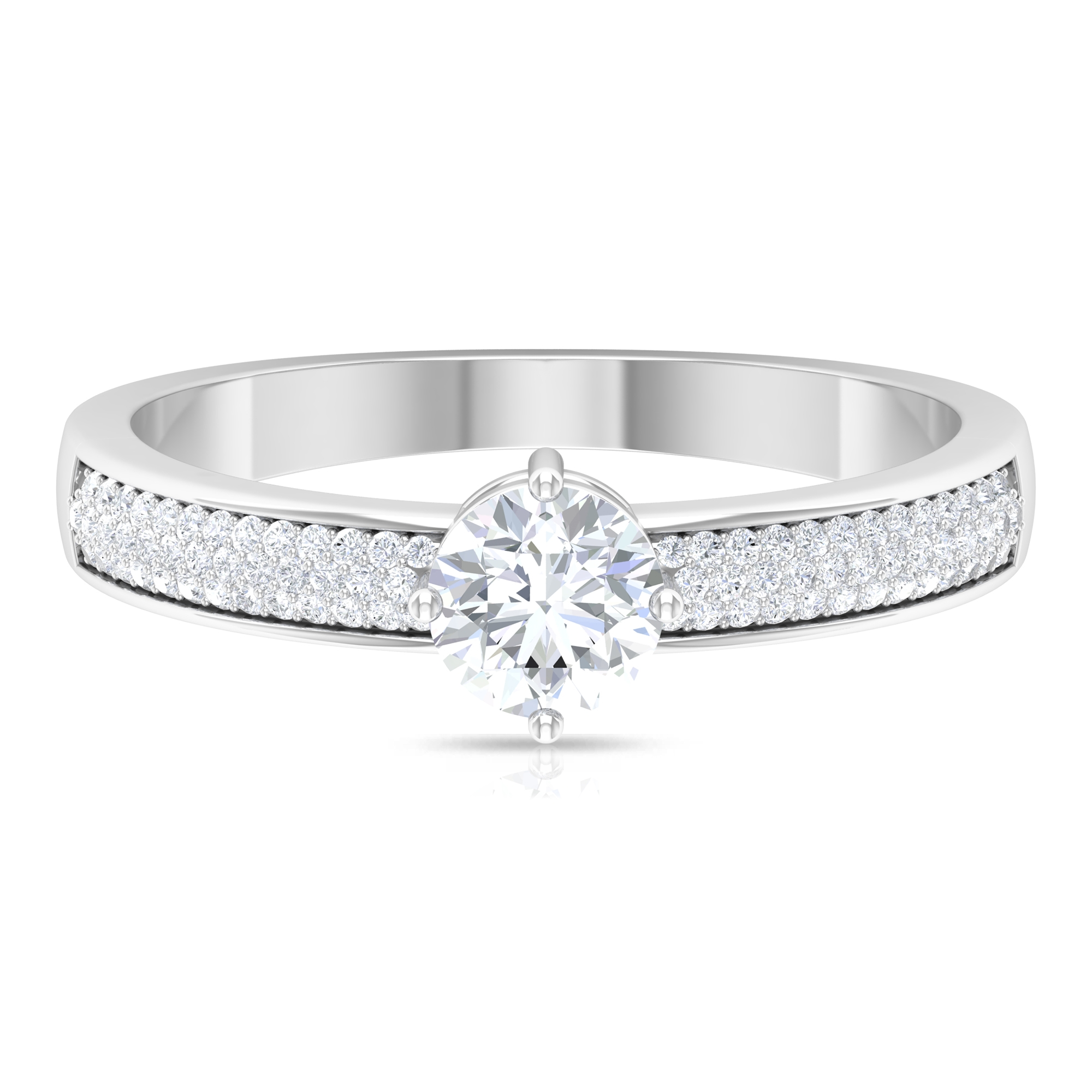 April Birthstone 3/4 CT Four Prong Diagonal Set Diamond Solitaire Ring with Pave Set Side Stones