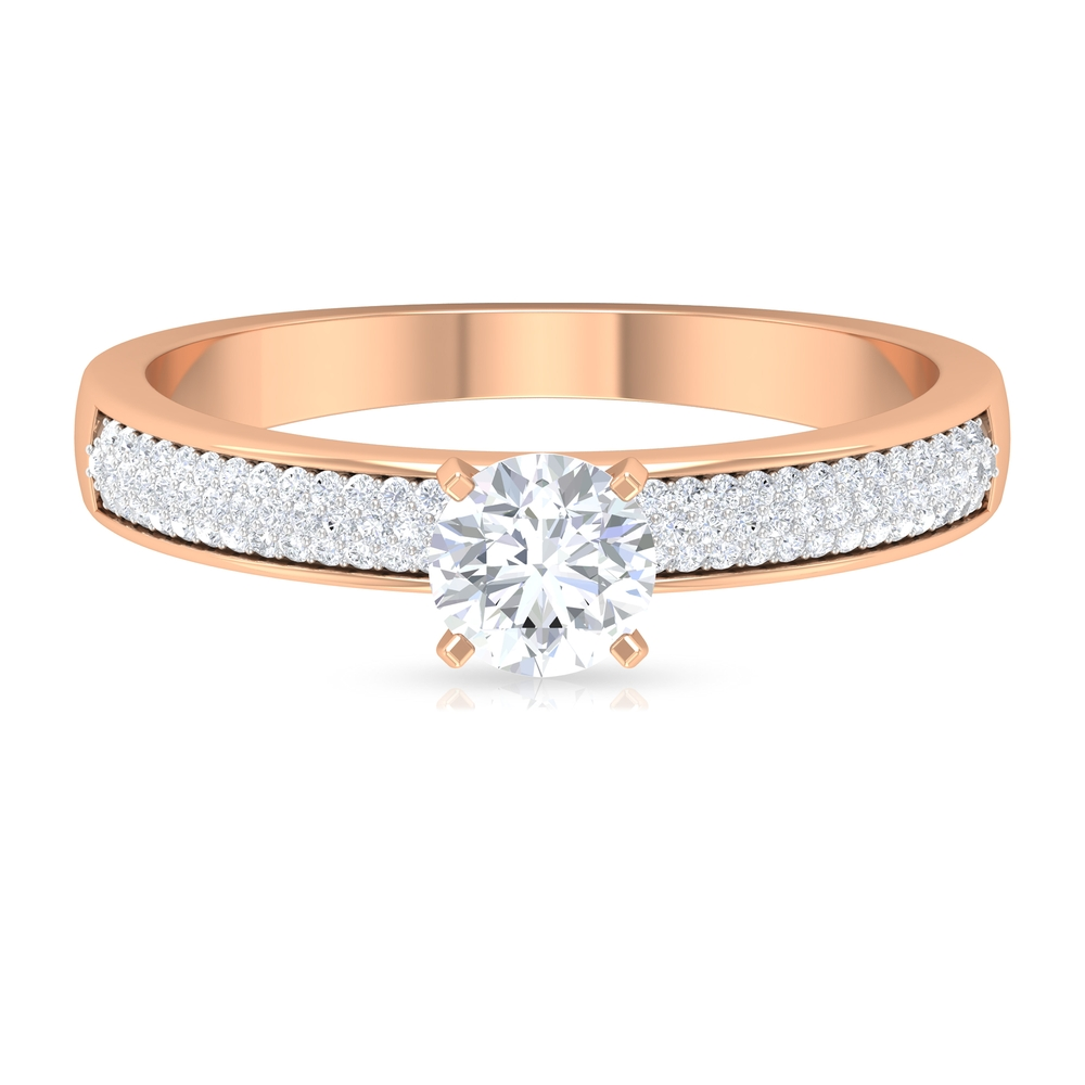 April Birthstone 3/4 CT Square Prong Set Diamond Solitaire Ring with Pave Set Side Stones