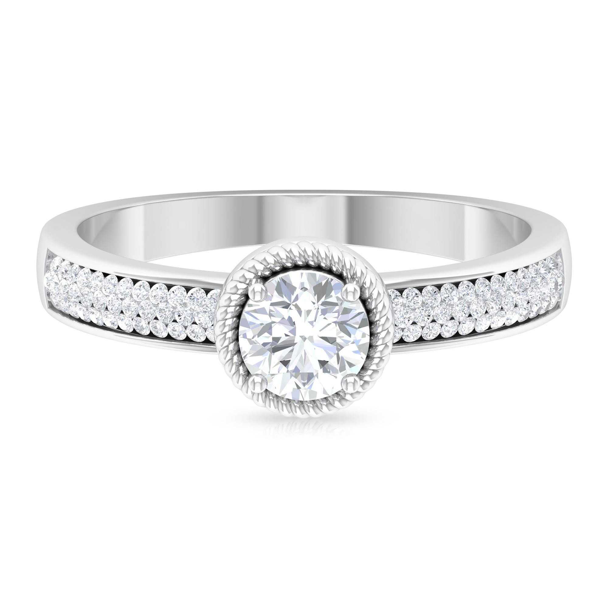 3/4 CT Rope Frame Solitaire Diamond Ring with Pave Set Side Stones