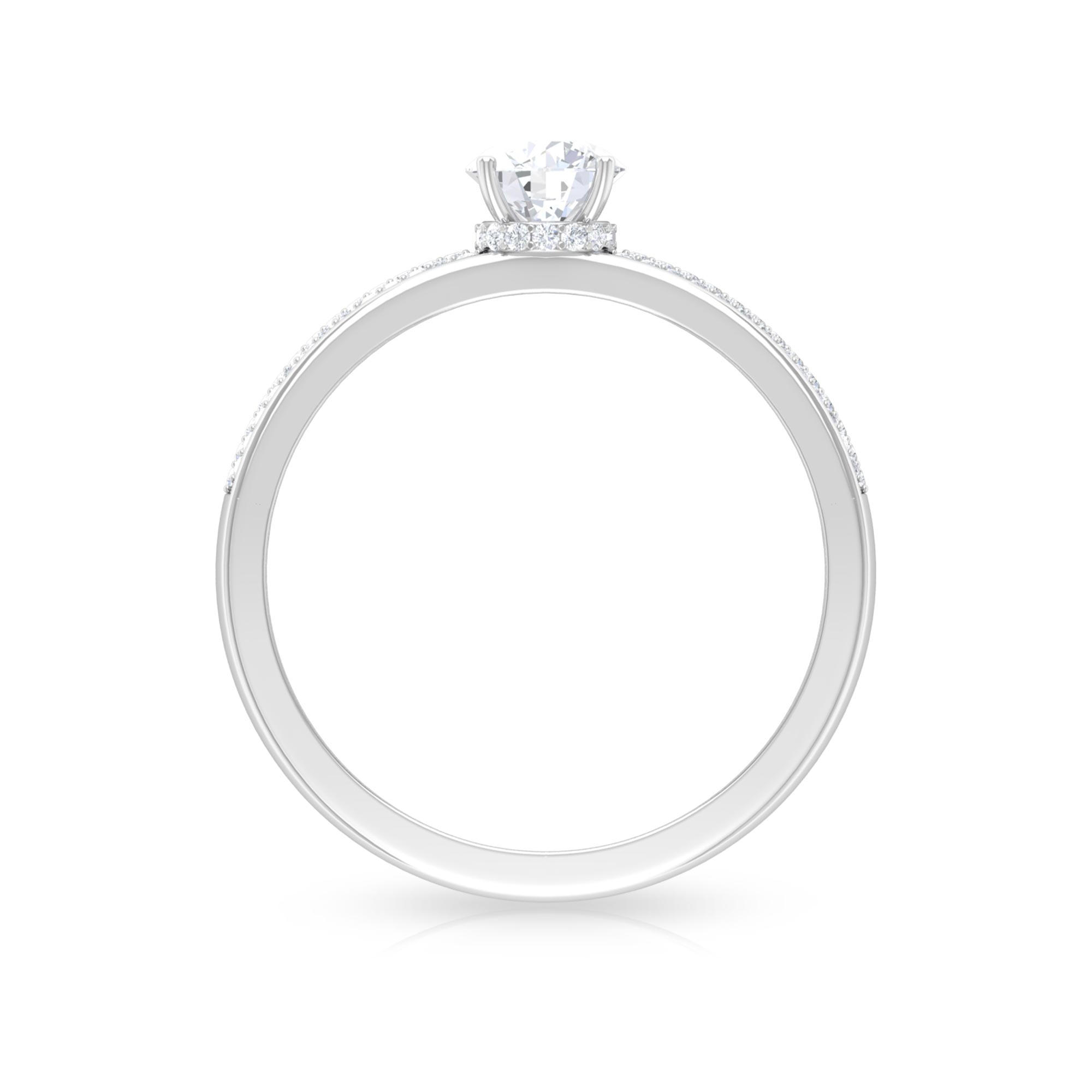 3/4 CT Four Prong Set Solitaire Diamond Ring with Hidden Halo and Pave Set Side Stones