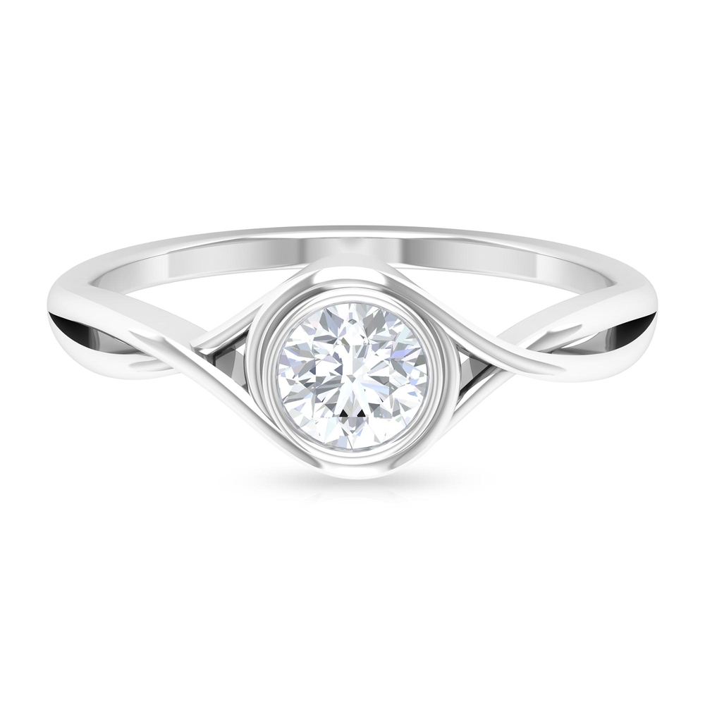 April Birthstone 5 MM Round Shape Solitaire Diamond Crossover Ring in Bezel Setting