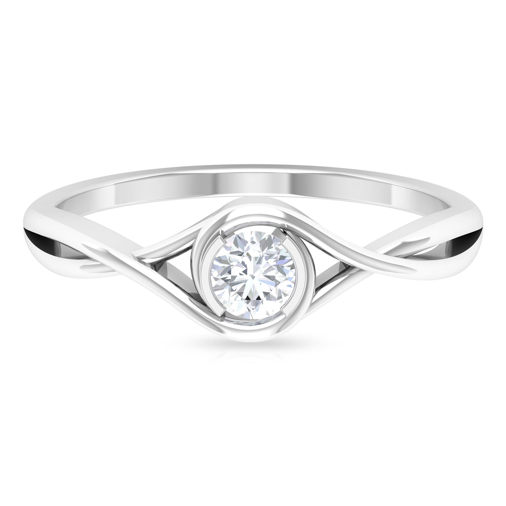 April Birthstone 4 MM Round Shape Solitaire Diamond Crossover Ring in Half Bezel Setting